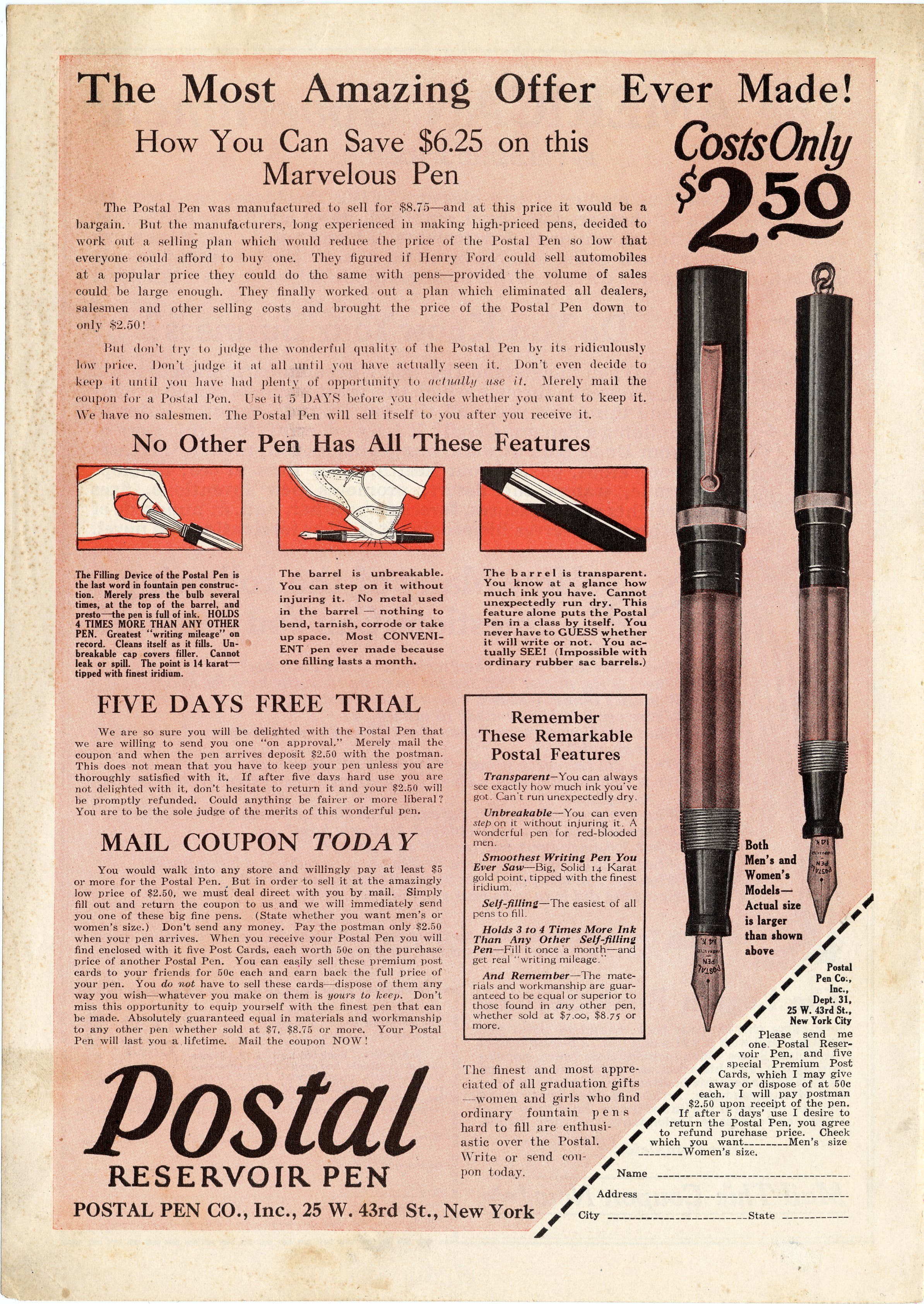Postal Reservoir Pen advertisement, 1925.