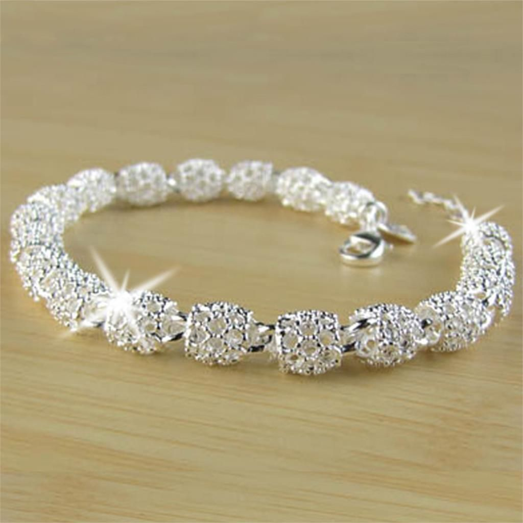 Drop shipping fashion sliver plated classic ladyus closed bangle