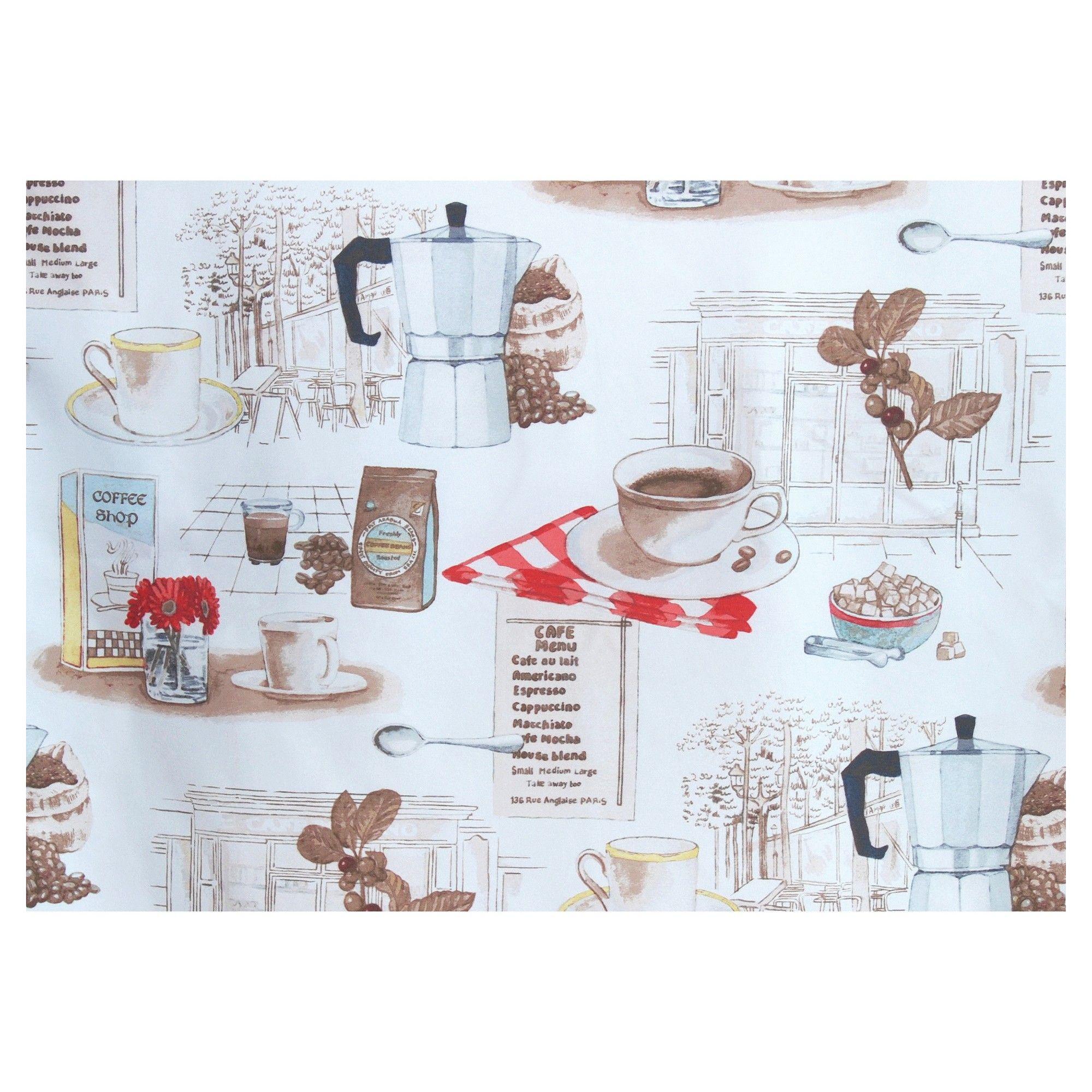 No. 918 Brew Coffee Shop Theme Microfiber 3-Piece Kitchen Curtain ...