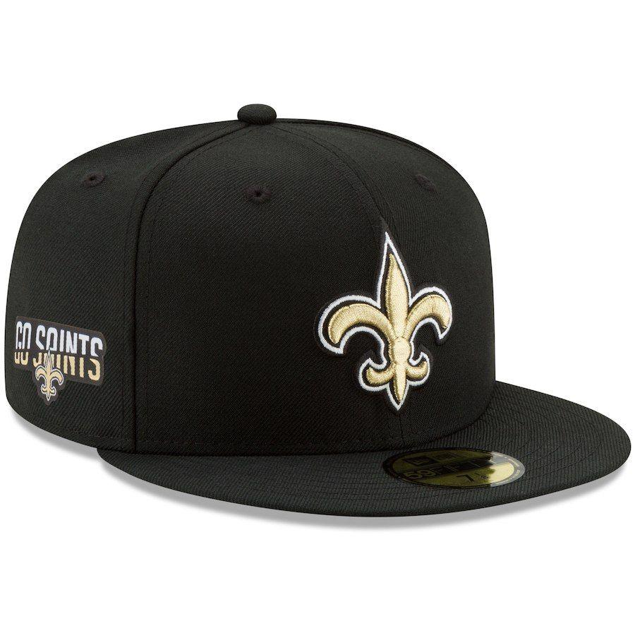 10a69011 Men's New Orleans Saints New Era Black Team Slogan Basic 59FIFTY ...