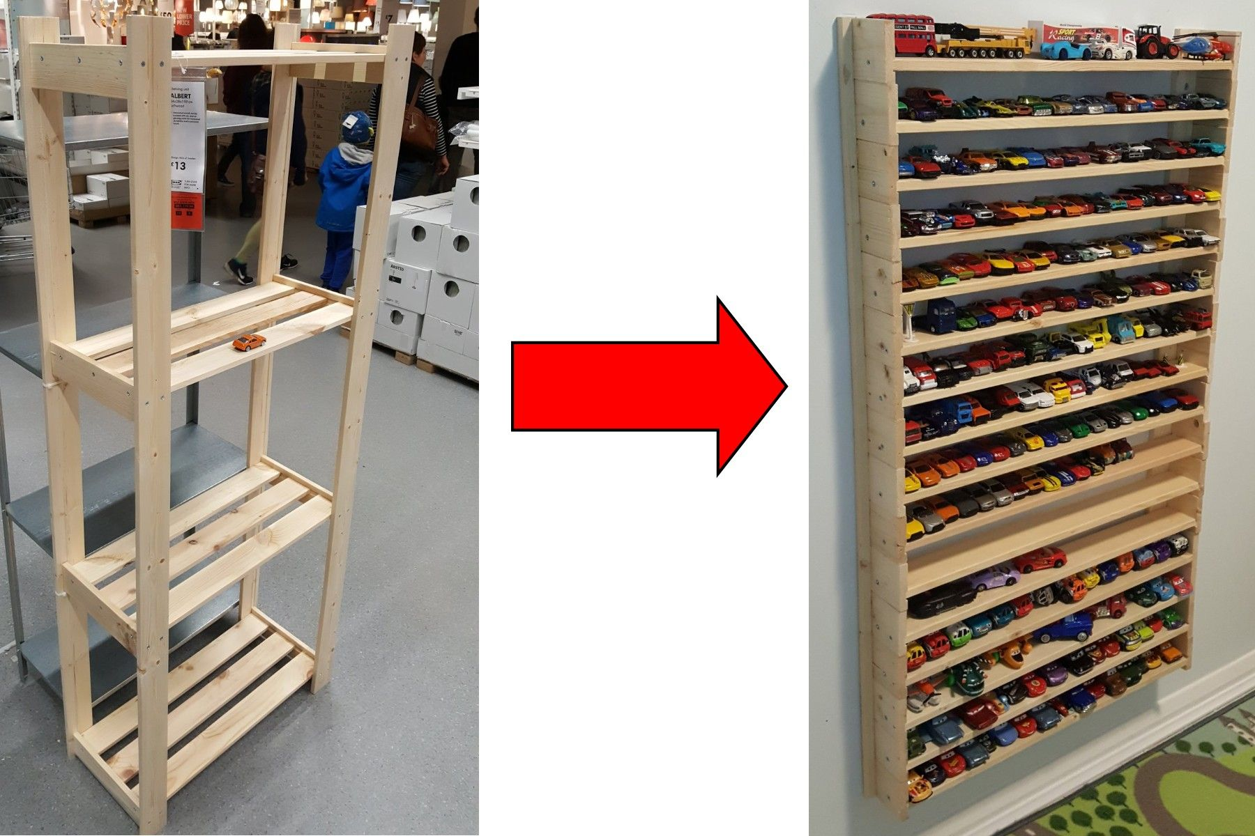 Hot Wheels Display Storage Unit, Ikea Shelve Hack, 13