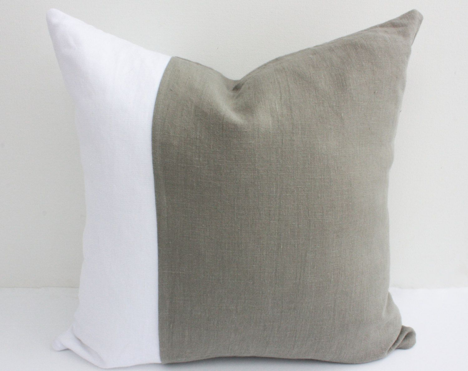 CUSTOM 18 x 18 Linen Pillow Cover, Color Block Pillow Cover ...