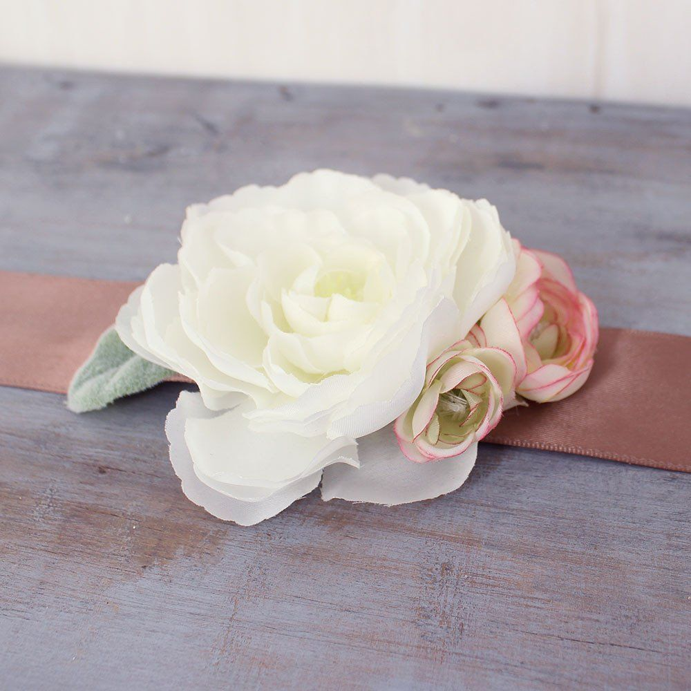 White Ranunculus Silk Corsage With Blush Accents White Ranunculus