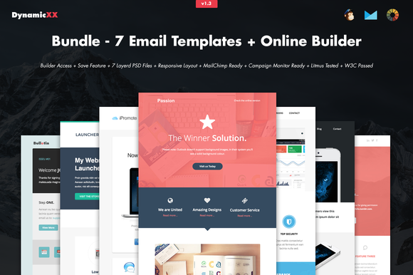 Bundle - 7 Email Templates + Builder by DynamicXX on