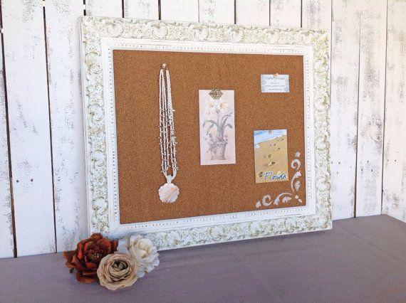 Framed cork board  shabby chic decor  white by YouMatterDesigns