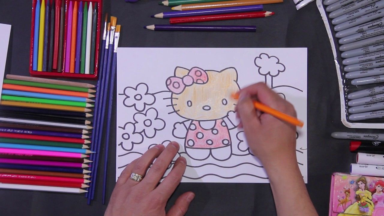 Hello Kitty Colors For Kids Coloring Art Drawing For Children
