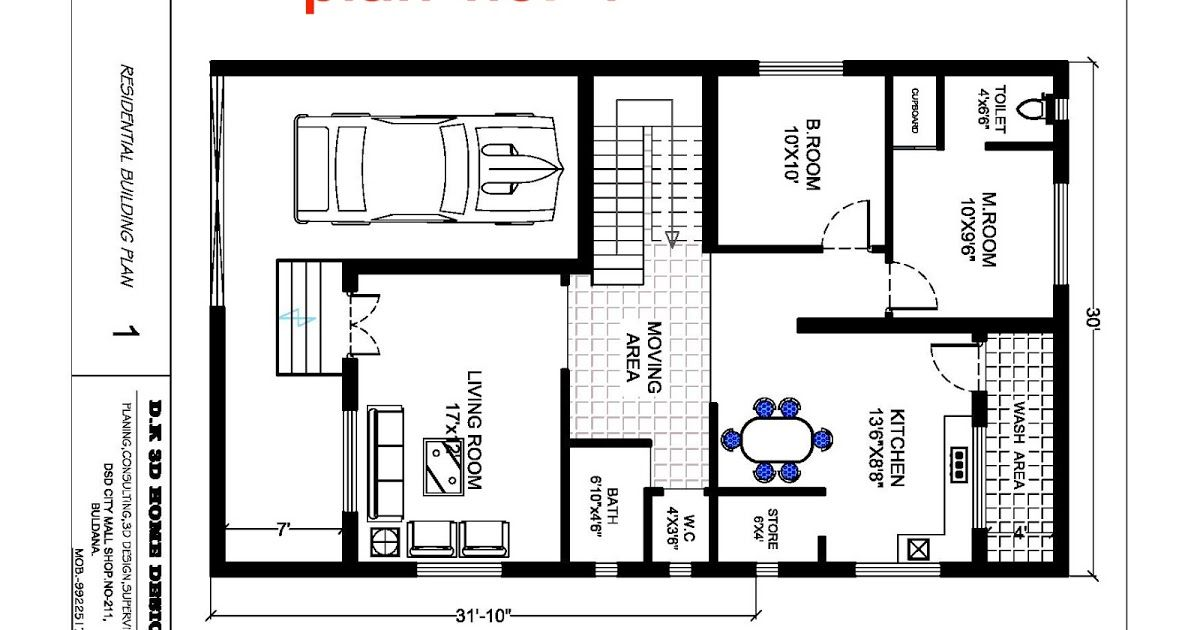 Plan With 3d Elevation 20x30 House Plans House Plans Free House Plans