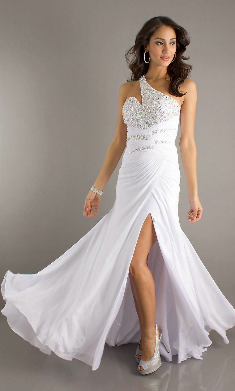 One Shoulder Ruched Elegant Floor Length Rhinestone Open Back White Prom  Dress