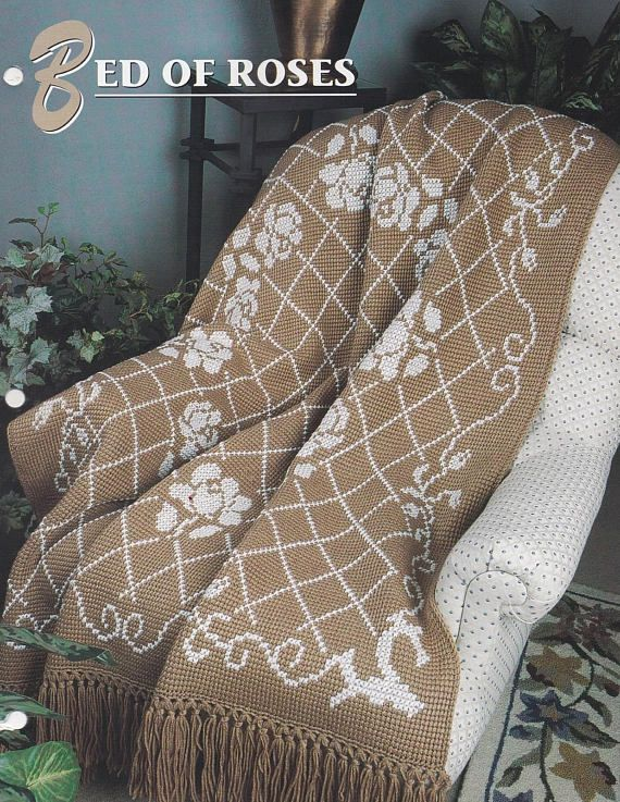 Bed Of Roses Annies Attic Crochet Afghan Quilt Pattern Club