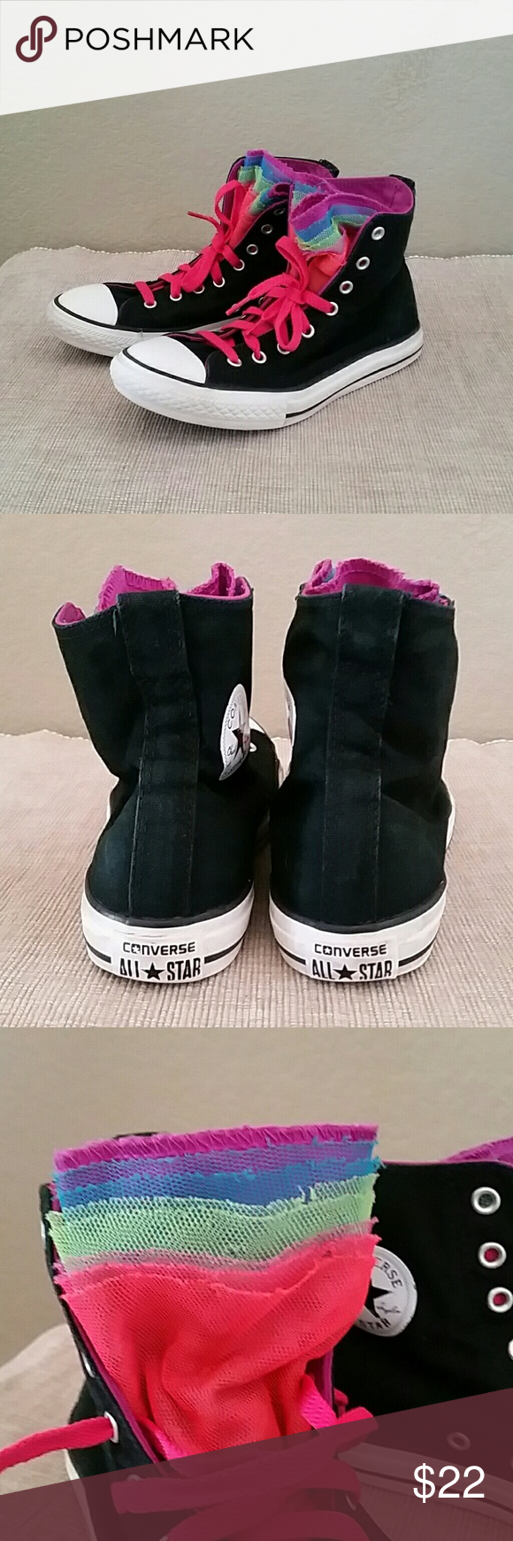 Converse rainbow hi tops sneakers size 4 EUR 36 Black with