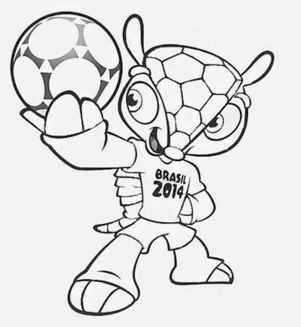 Mascote Da Copa Do Mundo 2014 Fuleco Para Colorir Copa Do