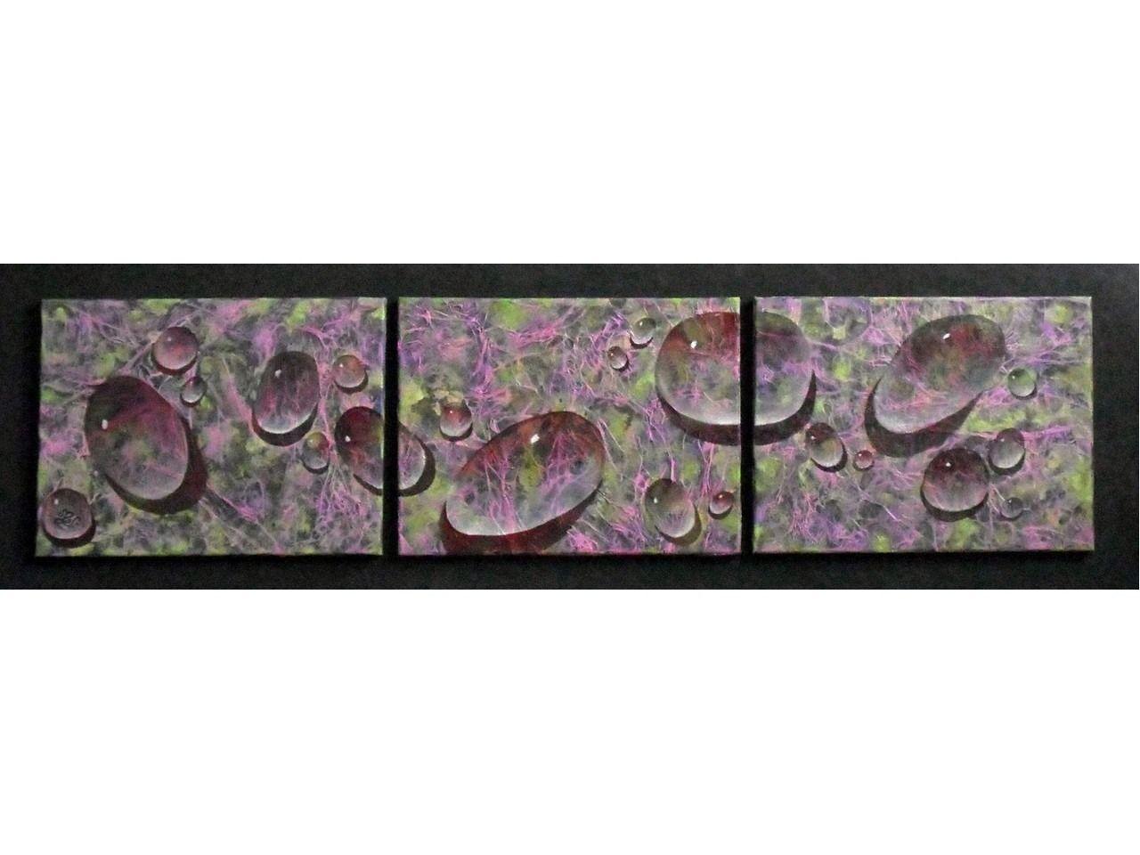 Tableau Design Triptyque Les Gouttes1 Peinture Stucco 150 X 42 Cm