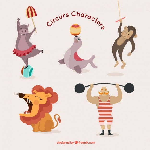 Cute circus characters pack Premium Vector | Circus | Circus