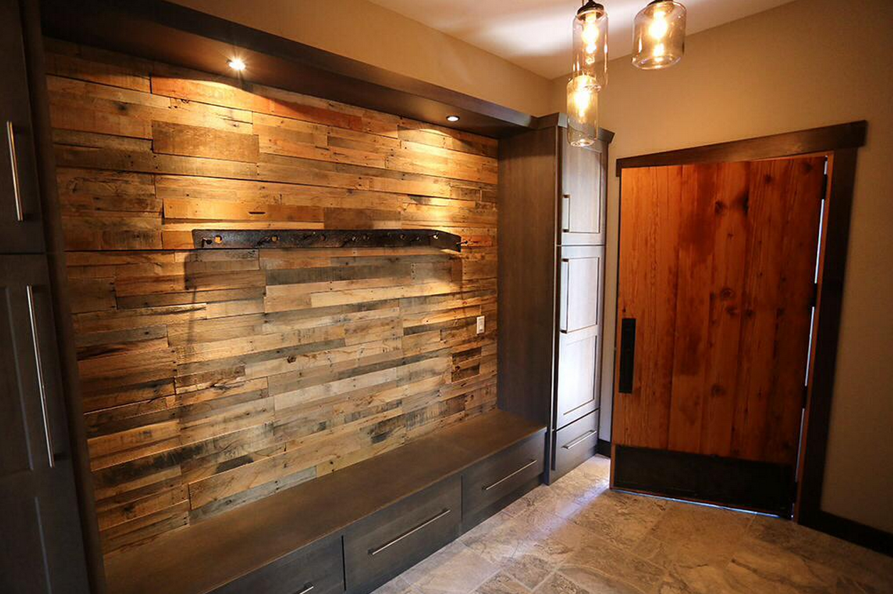 Reclaimed Wood Accent Wall Fireplace | Pre Fab Wood Wall Panels    Sustainable Lumber Company