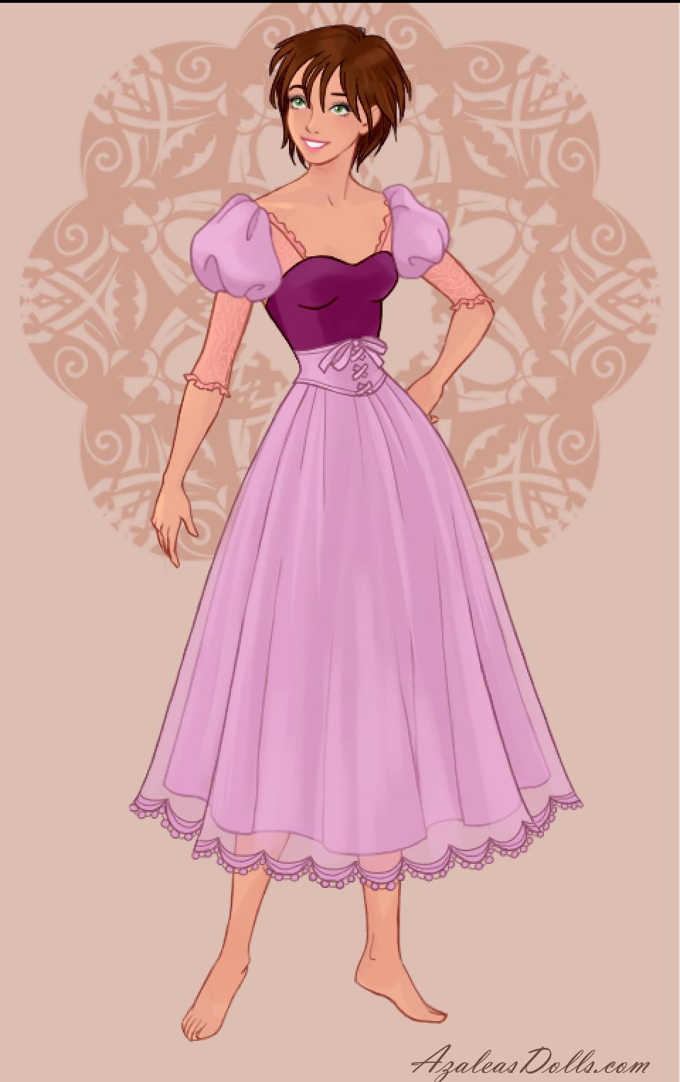 Rapunzel with short brown hair in Wedding Dress