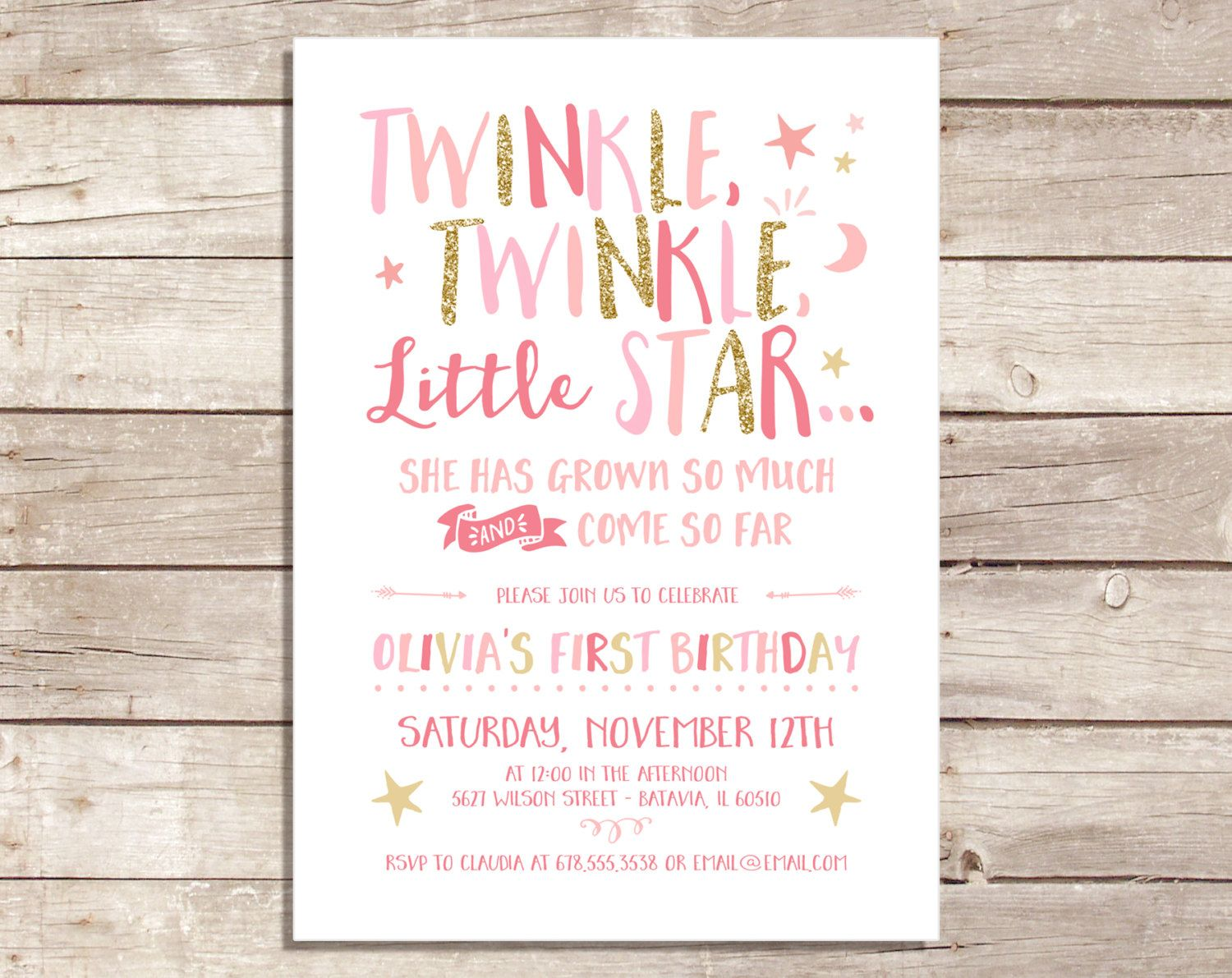 Printable twinkle twinkle little star invitation pink and gold