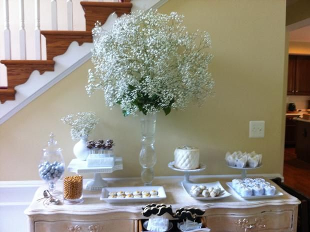 Boy first communion dessert table baptism
