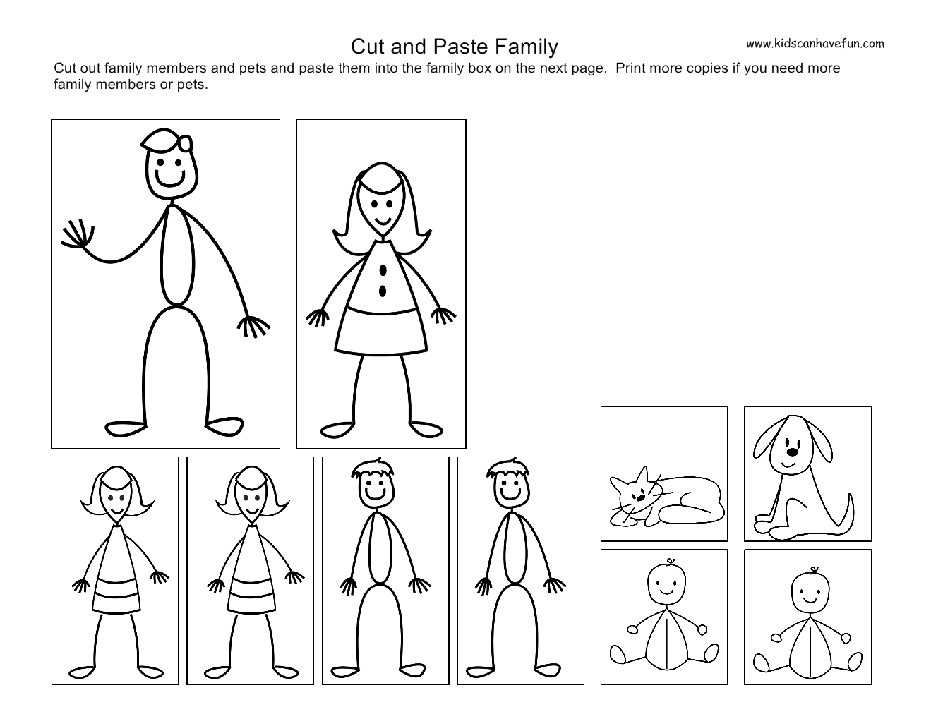 Worksheets Cut And Paste Worksheets For Pre K cut and paste kids family worksheets theme preschool