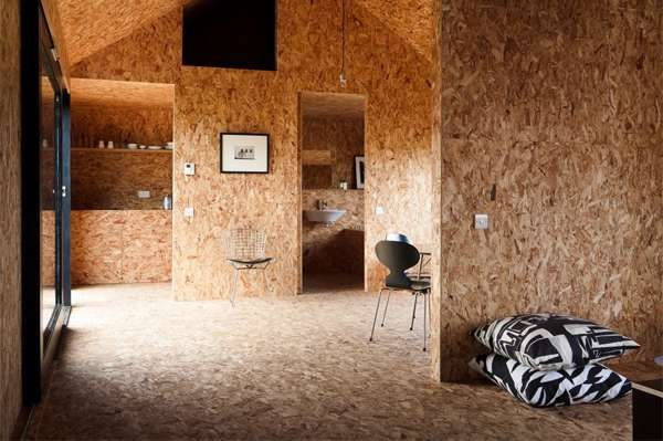 Contemporary Shingle Clad Cabins Plywood Interior Architecture Chipboard Interior