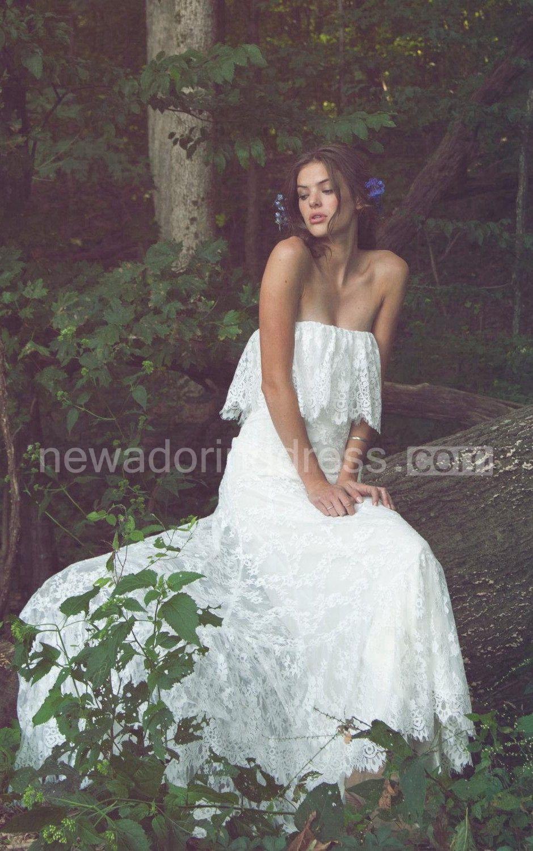 Offshoulder long sheath lace boho wedding dress with ruffles