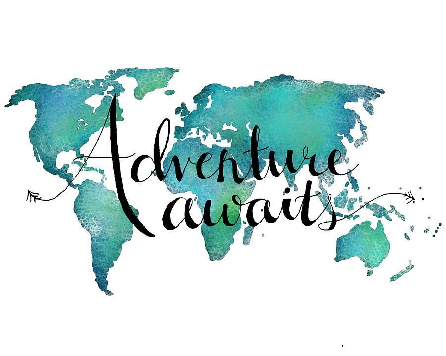 Adventure Awaits - Travel Quote On World Map Digital Art Adventure - best of world map white background