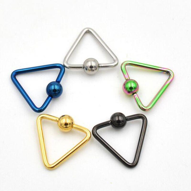 2 stück 16g titanium captive triangel perle ringe bcr augenbraue tragus nase helix ring bar lippen piercing schmuck 2016