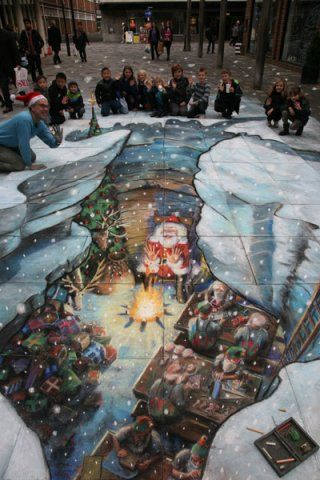 Christmas Eve in Santa's workshop. This picture appeared in The Daily Mail on 22nd December 2011. by Julian Beever