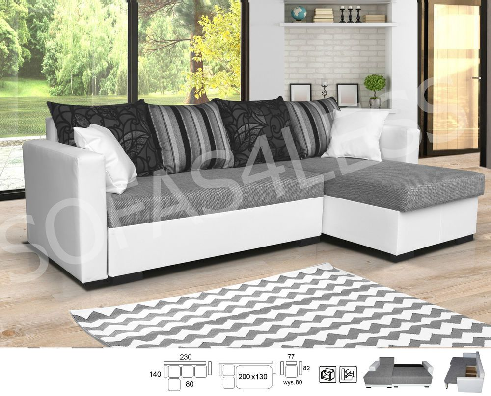 Details about NEW MILANO LEATHER + FABRIC CORNER SOFA BED STORAGE ...