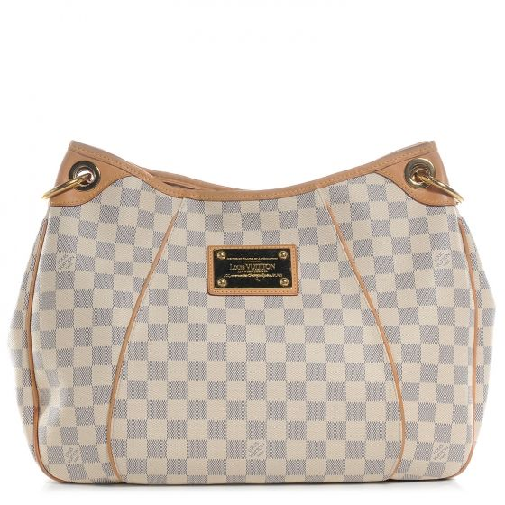 This is an authentic LOUIS VUITTON Damier Azur Galliera PM.   This stylish shoulder bag is crafted of Louis Vuitton signature Damier check canvas in Azur blue.