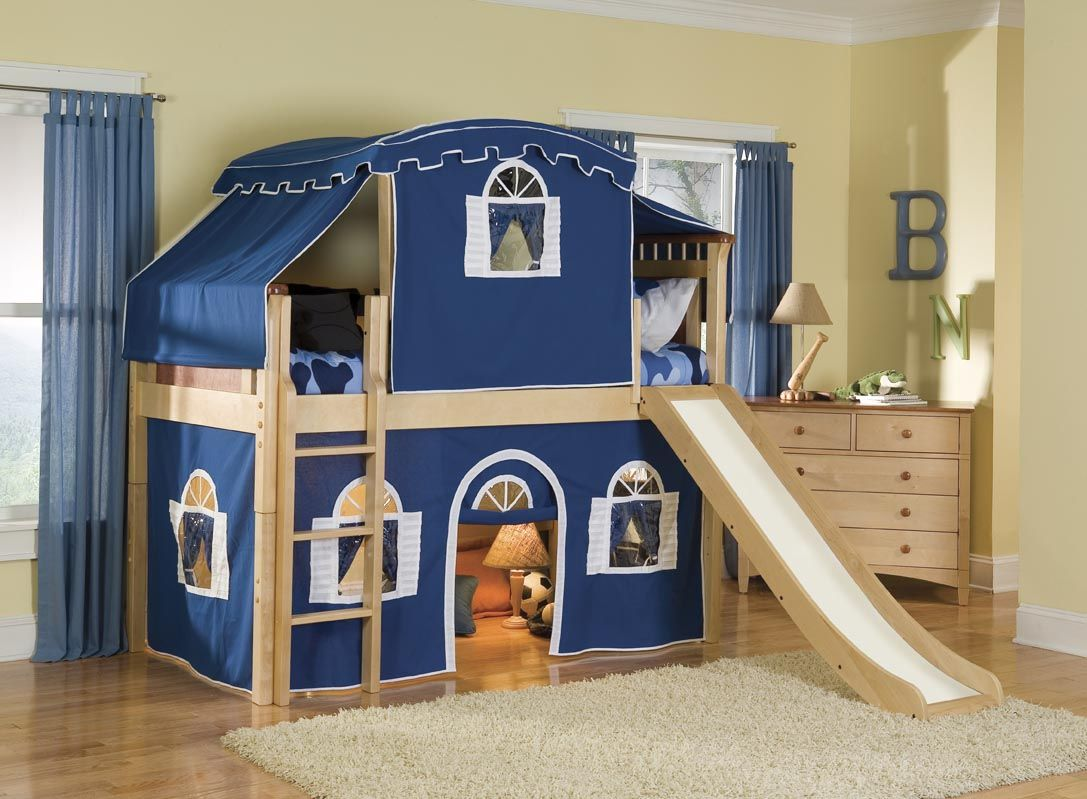 Loft bed with slide and desk  boys bunk and desk bed  Google Search  Dream house  Pinterest