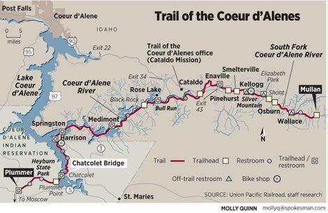 Plummer Idaho Map.Trail Of The Coeur D Alenes Map Of The Trail Of The Coeur D Alenes