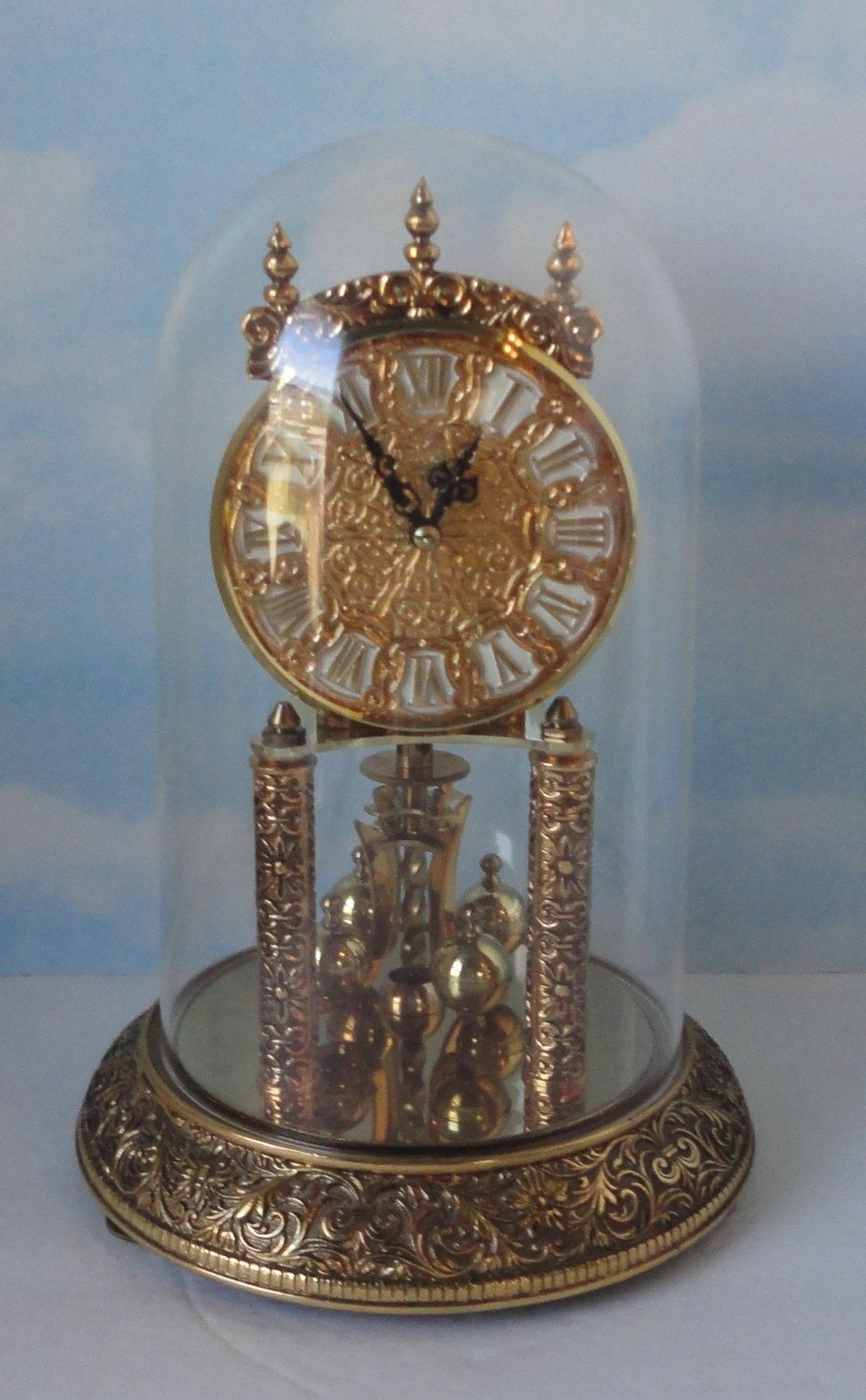 156a6f8de50 Vintage Kundo Kieninger Obergfell Anniversary Shelf Mantle Clock with Dome.  For parts by Cosasraras on Etsy