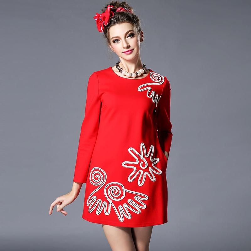 Cheap dresses england, Buy Quality dress link directly from China dress barn Suppliers:        New Arrive 2016 Spring Women Dress Fashion Appliques Brief O-Neck Casual Dress Full Sleeve Luck Red Dress For Lad