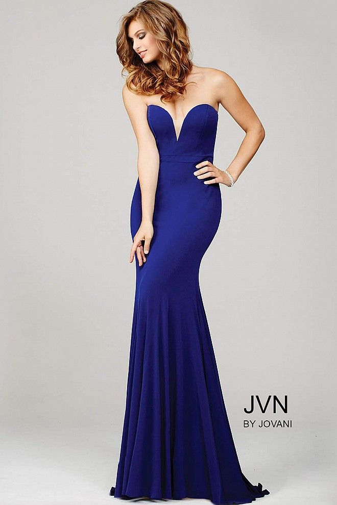 49974e8b9f86e Simple and sleek floor length fitted purple jersey prom dress features  strapless sweetheart plunging neckline, also available in black, dark red,  indigo, ...