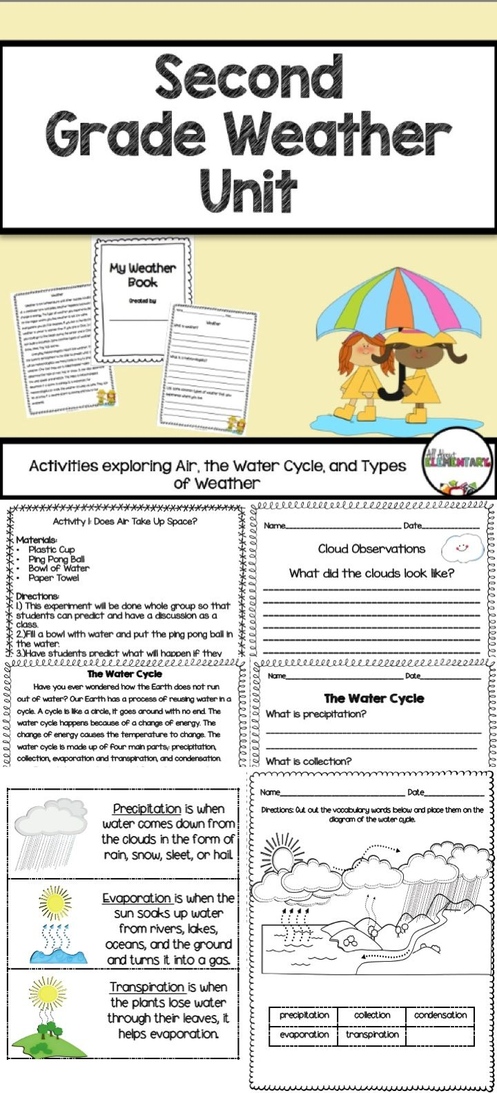 Second Grade Weather Unit - Use this 64 page resource to help your 2nd grade  classroom or homeschool stud…   Weather activities [ 1582 x 720 Pixel ]