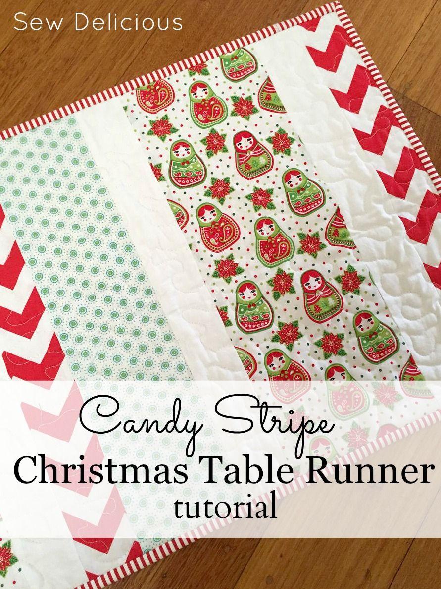 Candy Stripe Christmas Table Runner Tutorial Sew Delicious Table Runner Tutorial Christmas Table Runner Christmas Table Toppers