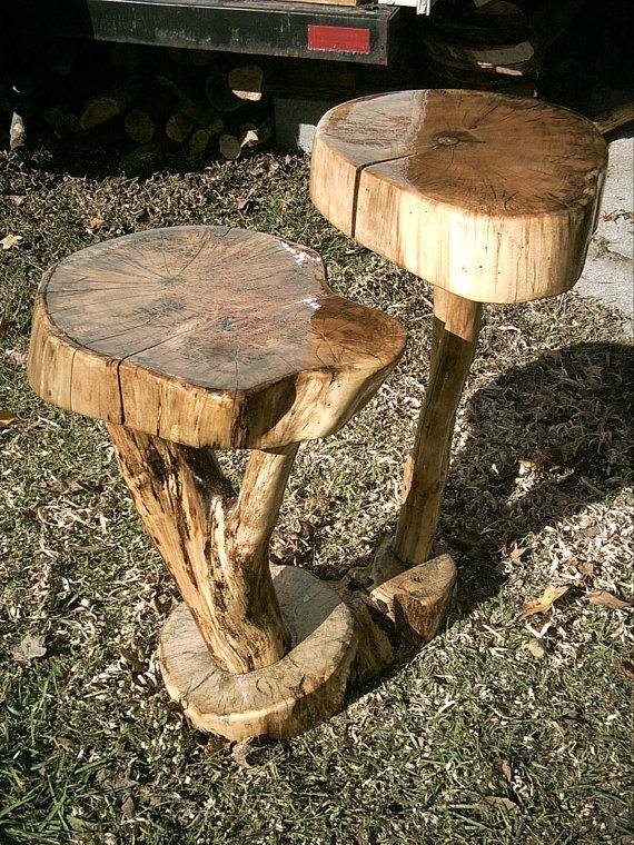 Spalted Maple 2-tier live edge log art curiosity table ONE OF A KIND  Mushroom