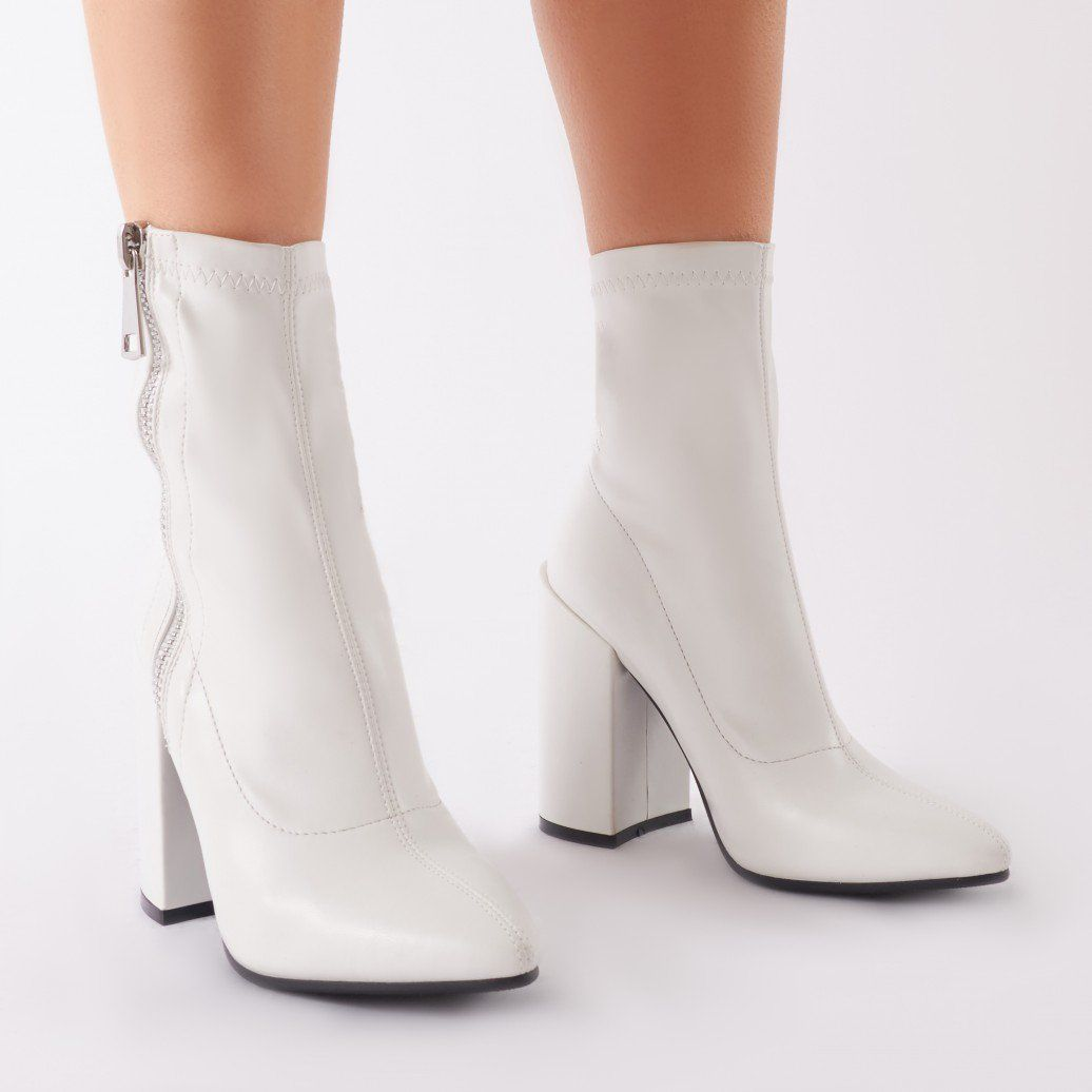 ed9fc01d11648 Renzo Sock Fit Ankle Boots in White