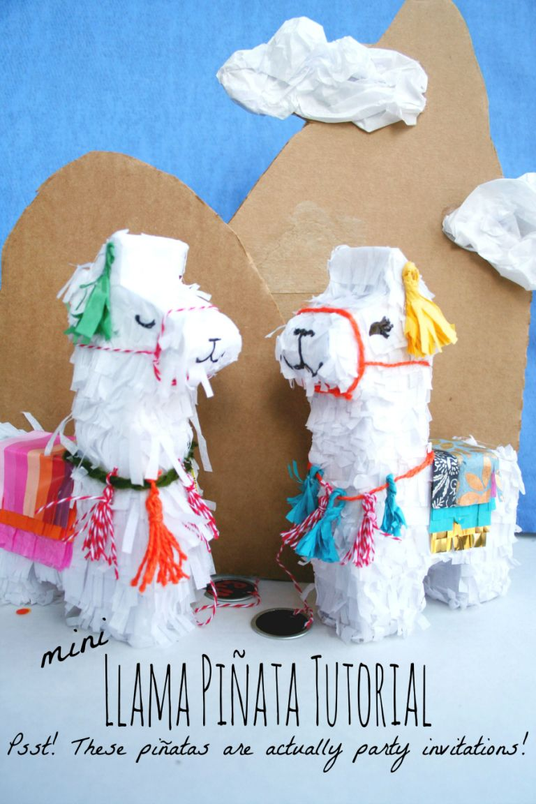 mini Llama Pinata Tutorial--made to hold an invitation! Mail a pinata for Cinco de Mayo party invites!