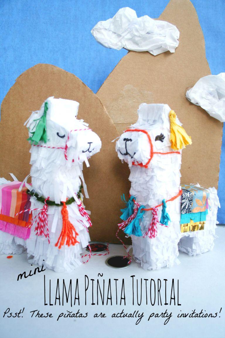 mini Llama Pinata Tutorial--made to hold an invitation! Mail a pinata for Cinco de Mayo party invites!