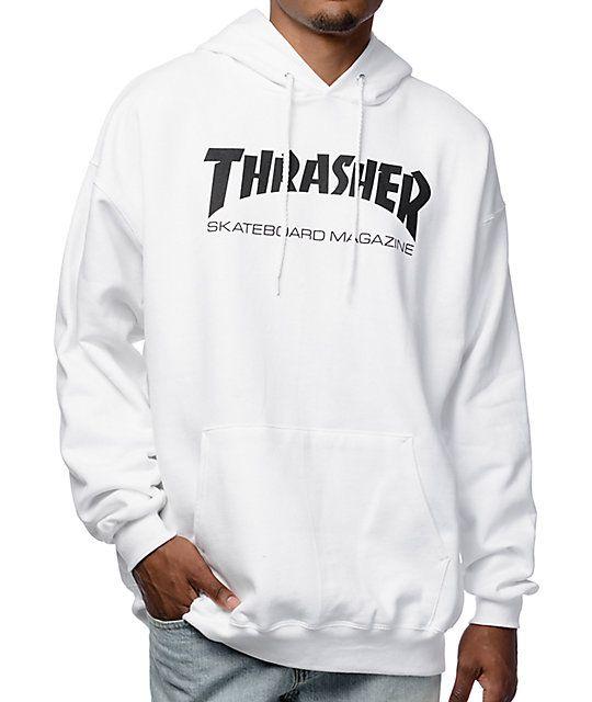 Thrasher Skate Mag White Pullover Hoodie | Thrasher, Thrasher ...