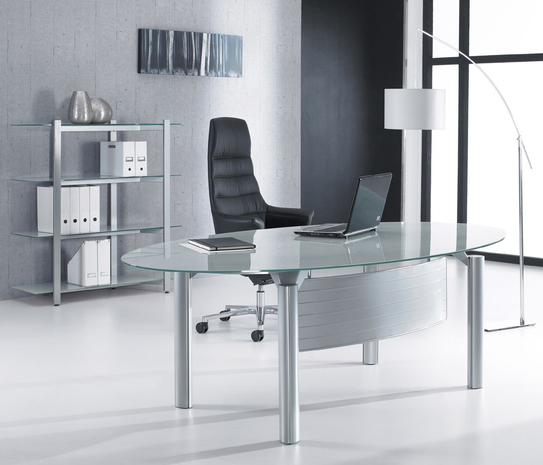 Oval Glass Desks Glass Desks Glass desk, Contemporary