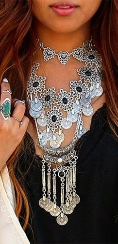 Silver Black Layered Fringe Coin Tribal Flower Statement Necklace