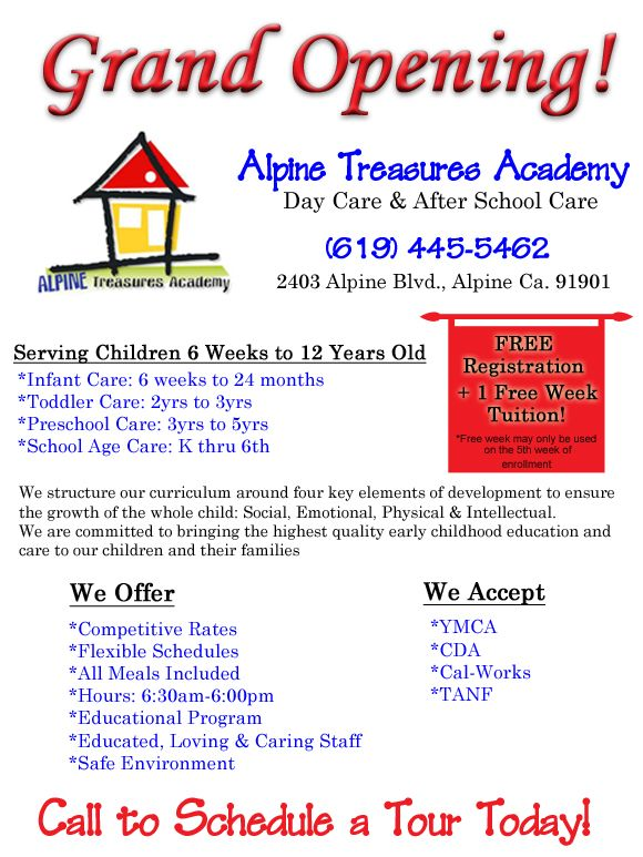 Alpine Treasures Academy Day Care After School Care NOW OPEN In - School open house flyer template free