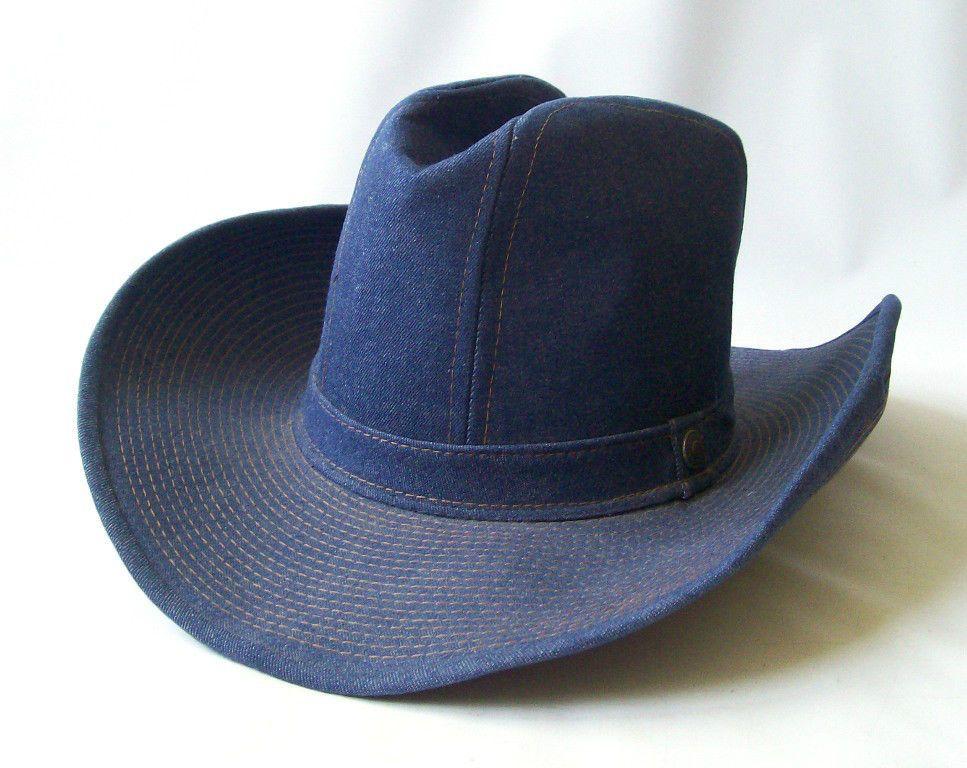 d93ced1c3c6 Vintage Cowboy Hat Levi Strauss   Co. Blue Denim Genuine sz 7 1 8 Jean  1970 s
