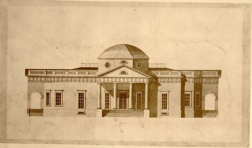 Robert mills 39 s sketch of jefferson 39 s monticello 1803 for Thomas jefferson house monticello