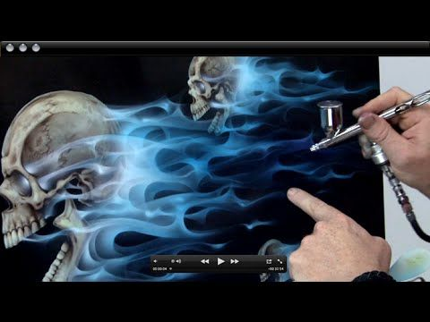 How To Airbursh Real Fire Amp Skulls Realistic Blue Flames