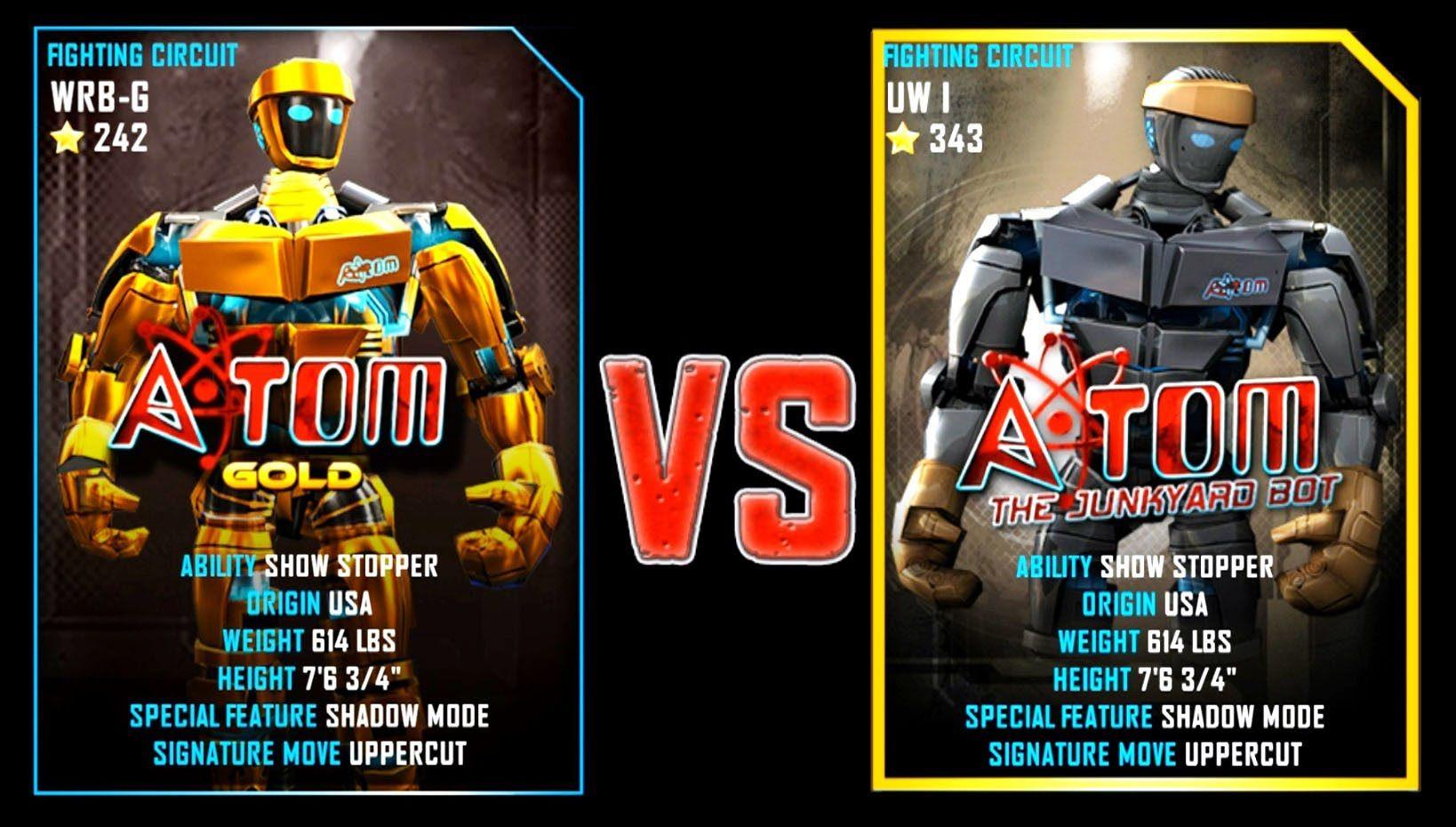 REAL STEEL WRB ATOM GOLD (251) VS Atom (343) New Robots