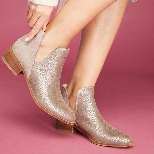 78f40a2d9160 If it's not too cold, these metallic booties are just the right touch to  add a little glamour to a casual fall outfit.