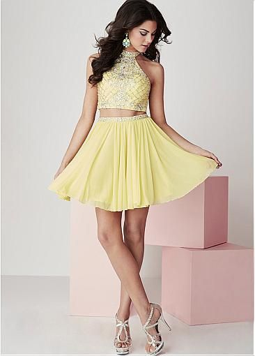 21c55016ae2 Chic Tulle   Chiffon High Collar Two-piece A-Line Homecoming Dresses With  Beads